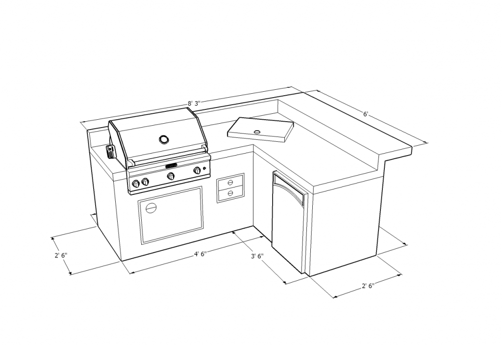 4200 Series Barbecue Island With Access Door Double