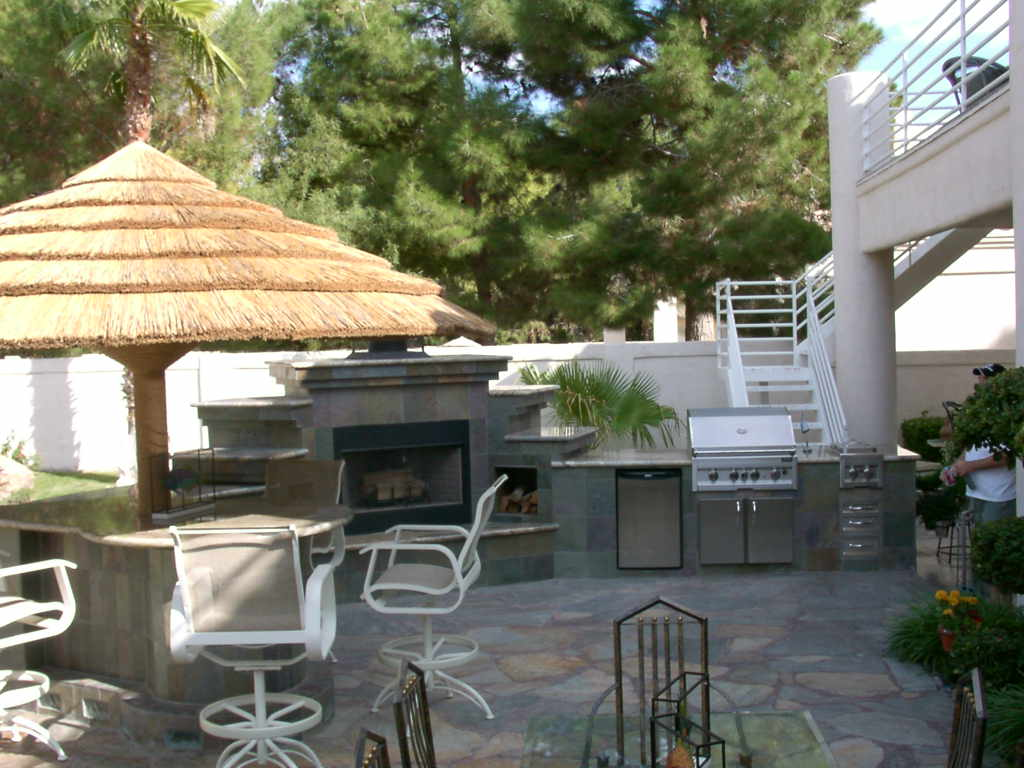 Complete Outdoor Kitchen With Fireplace Las Vegas