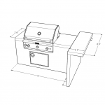 2445 Series Barbecue Island with Social Bar