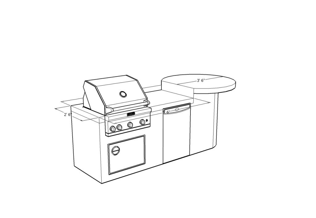 custom barbecue island design with refrigerator  single