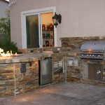 Custom Outdoor Kitchen Design with Social Area and Fire Pit
