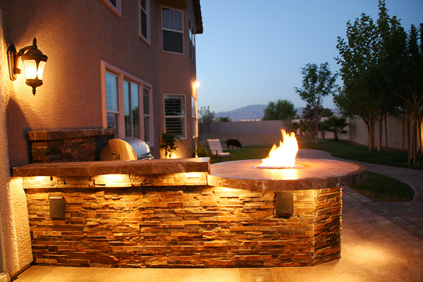Nighttime Shot of Custom Barbecue Island Design - Las Vegas ...