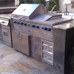 Custom Barbecue Island with Stainless Steel Grill & Accessories