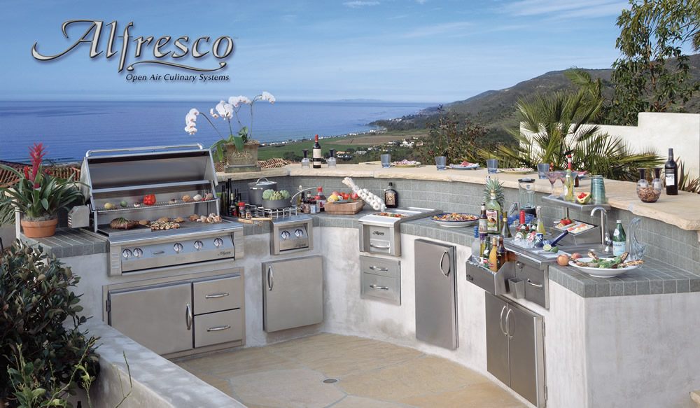 Alfresco Grey and White Outdoor Kitchen - Las Vegas Outdoor ...